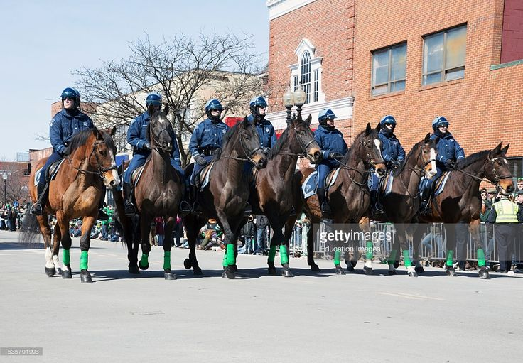 Boston Police on horseback, St Patricks Day Parade, South Boston, Massachusetts.