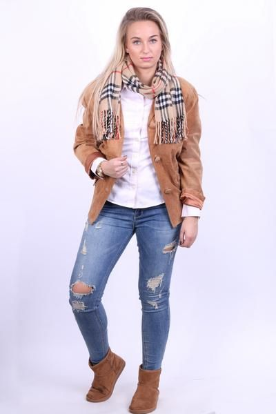 Good Time Womens 38 M Leather Jacket Blazer Carmel Suede - RetrospectClothes