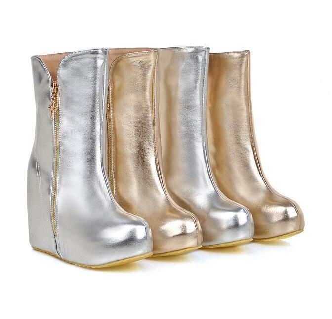Gold Silver Women's Patent Leather Shoes Hidden Wedge Lady Ankle Boots Size