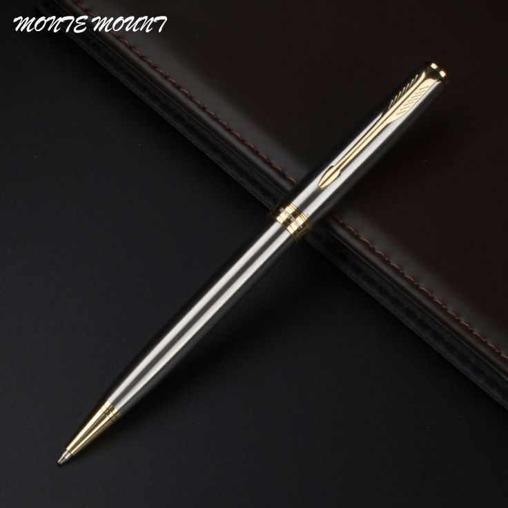 MONTE MOUNT Executive silver with golden clip Ballpoint Pen Fashion Business Contact Pen Brand School pen stationary