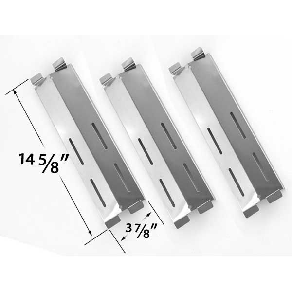 REPLACEMENT 3 PACK STAINLESS STEEL HEAT PLATE FOR PATIO RANGE, GRILL CHEF, FIESTA, BLUE EMBER GAS GRILL MODELS Fits Compatible Models : CG41064, CG41064LP, SK472B