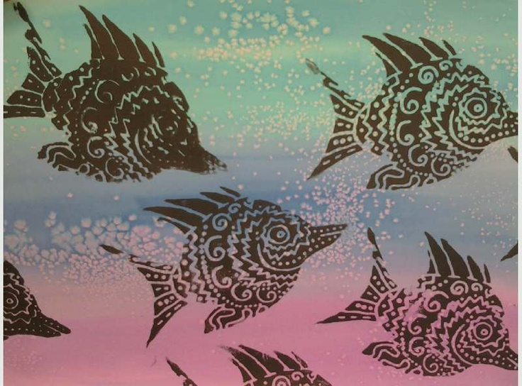 Finished project - foam fish or butterflies printed on washed watercolor paper (salt washes)