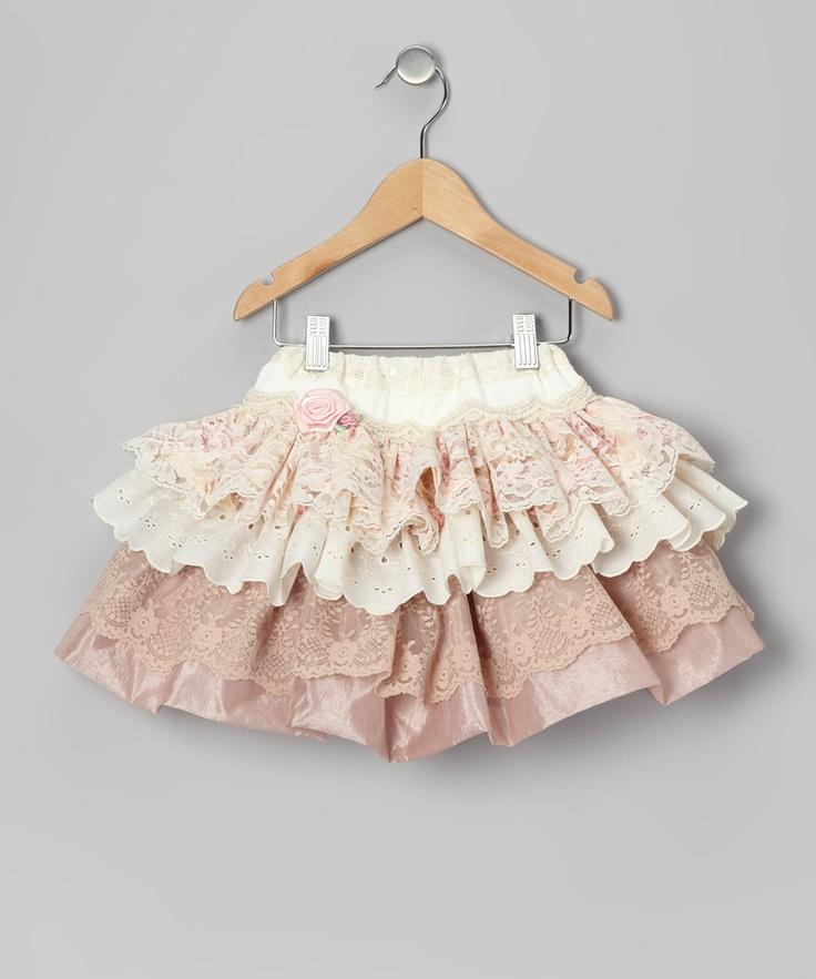 Baby Bon Bons Pink Rose Lace Rachel Skirt - Toddler  Girls