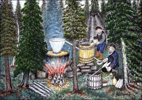 Andreas Alariesto Pontikankeittäjät metsän siimeksessä (Making moonshine in the forest) -