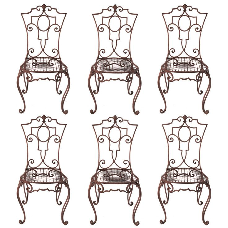Jean-Charles Moreux painted Wrought Iron Chairs SET OF 6 | From a unique collection of antique and modern side chairs at https://www.1stdibs.com/furniture/seating/side-chairs/