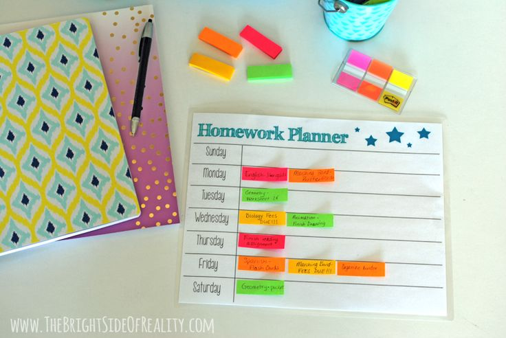homework planner printable to use with homework station