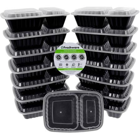 Freshware 15-Pack 2-Compartment Lunch Bento Box Reusable and Microwavable Food Container with Lids, YH-8288 - Walmart.com