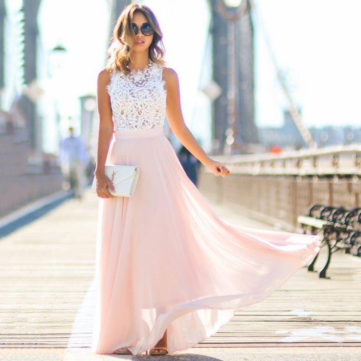 2017 Vestidos Party Dresses Pink Women Sexy Beach Summer Boho Maxi Long Evening Patchwork Dress Sundress Large Size Dress #hats, #watches, #belts, #fashion, #style