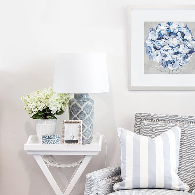 ~The prettiest picture ~ Featuring the Elegant Hydrangea print, Chambray Stripe Cushion and Motif Lamp.