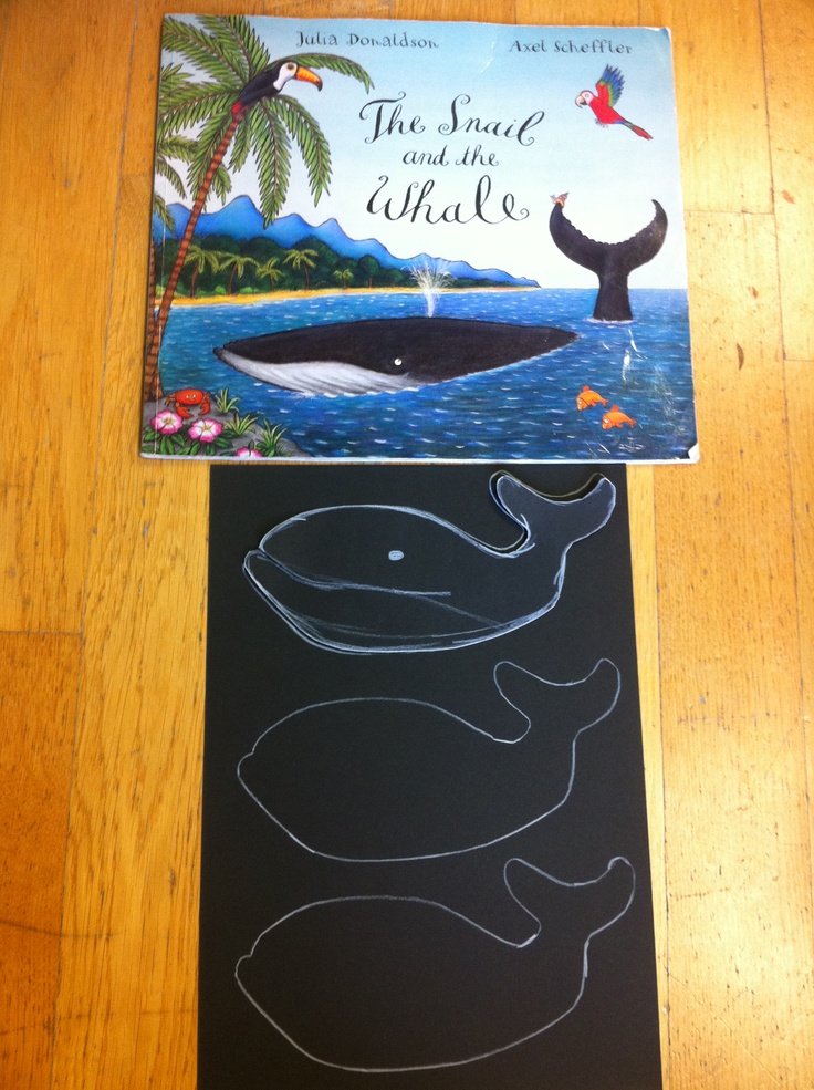 The Snail and the Whale by Julia Donaldson and Axel Scheffler-  After reading the story, we are planning to design 'a whale on a peg'-  So, first step, I drew some patterns of a whale onto black cardboards for the pupils to cut out- They will have to draw its mouth, eye and colour its tummy white.