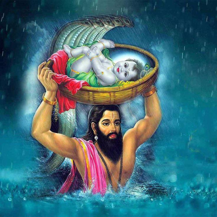 Bébé Krishna et Vasudev Janmashtami - Reproductions par Raghuraman | Acheter Affiches, Cadres, toile & Digital Art Prints | Petit, compact, moyen et variantes grandes