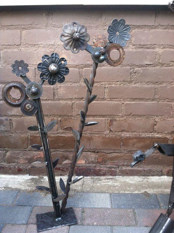Welded flower assemblage found metal sculpture on etsy for Welded garden art designs