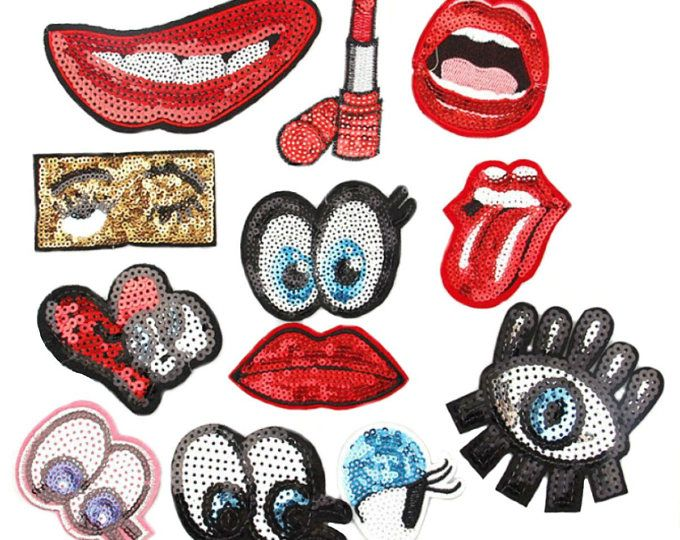 Sequins Patch Red Lipstick on Iron Embroidered  Seeing Eye Denim Jacket Tonque  Applique Patches For Jackets Bag Patch Badge Punk Patches