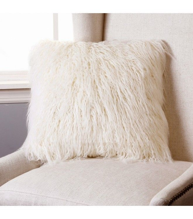 Shaggy Ivory Faux Fur Pillow 2 Sizes Faux fur, Cream and Gray