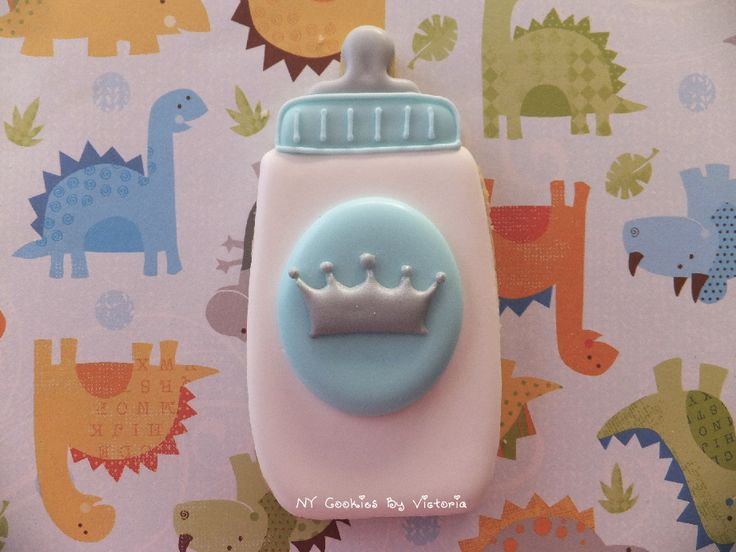 Baby Bottle Royal Prince Theme Cookie. Personalized Colors and design. See more designs HERE:  http://nycookiesbyvictoria.blogspot.com  www.facebook.com/...