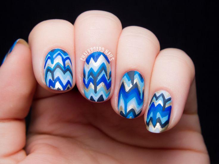 Blue Dripping Chevron Nail Art by @chalkboardnails