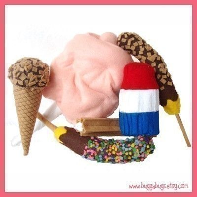 COUNTY FAIR Treats - PDF Felt Food Pattern (Cotton Candy, Frozen Bananas, Ice Cream, Popsicle, Churro)