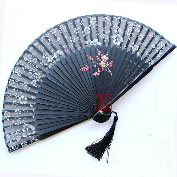 Antique Hand Fan Styles | Black antique chinese bamboo folding silk hand fans for gift and art ...