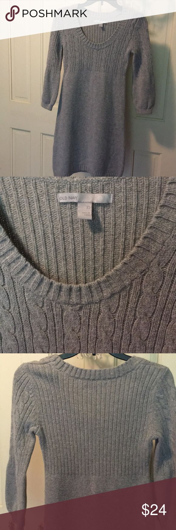 💕cozy, sweater dress Lovely, cozy, warm sweater dress. Cable knit top with sleek bottom. Worn once on Christmas Day. Looks great w a pair of boots, tights, and scarf. No smoking home. 🔹offers welcome. 🔹bundle for greater discount. Old Navy Dresses