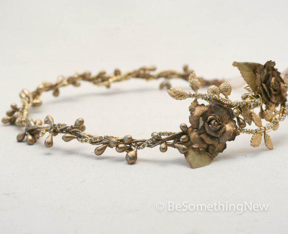 Gold Wedding Crown Rustic Bridal Hair Wedding Accessory Gold Leaf Rustic Wedding Headpiece Flower Crown Vintage Style Bridal headband