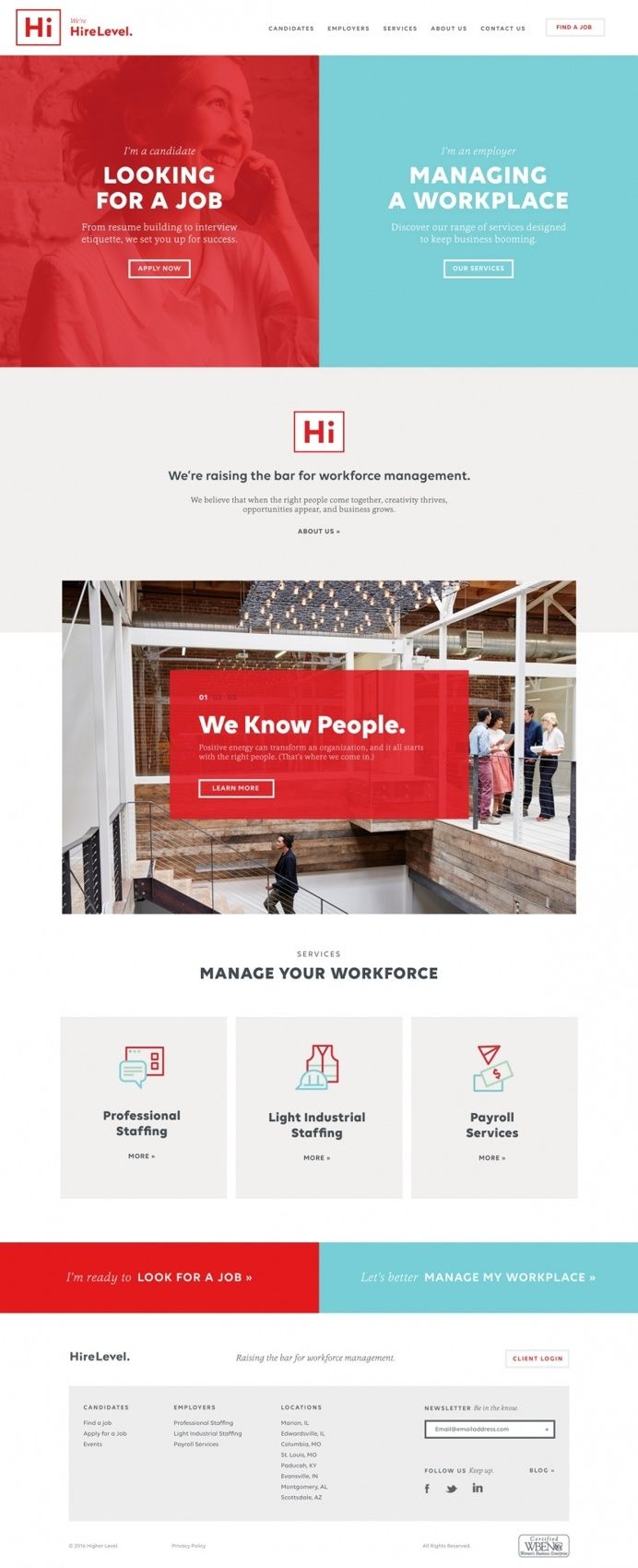 Hire level recruiting job website webdesign beautiful minimal business award site of the day best beauty mindsparkle mag designblog curation in Websites We Love