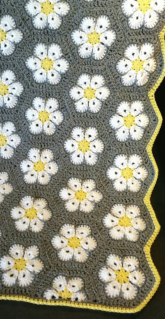 Crochet African Flower Hexagon Baby Blanket, Crochet Baby Girl Baby Boy Crib Blanket, Stroller Blanket, Car Seat Blanket, Baby Shower Gift. Color: Gray, Yellow, & White. This pretty baby blanket measures 36 x 28 and is made from acrylic yarn. Machine washable and dryable on low