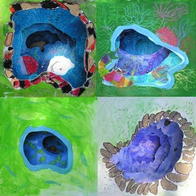 Tunnel books - water colours, brilliant water colours, tempera, salt and soft and oil pastels