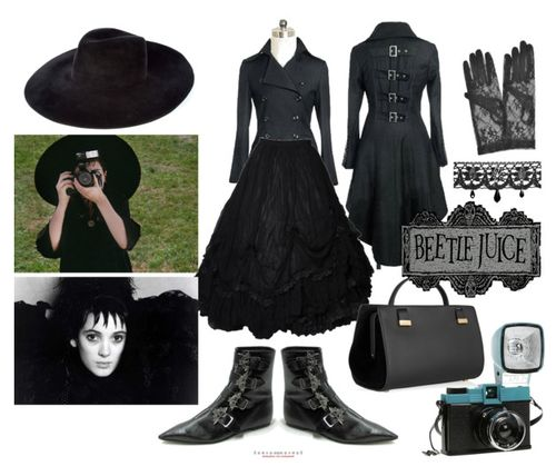 truebluemeandyou:    Lydia's style from Beetlejuice on Polyvore created by Paper Sparrow for the Tim Burton Blog Party.