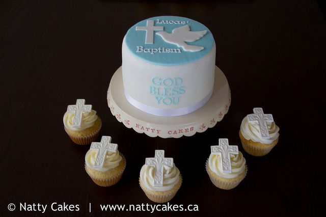 Boy Baptism Cake and Cupcakes by Natty Cakes Canada, via Flickr