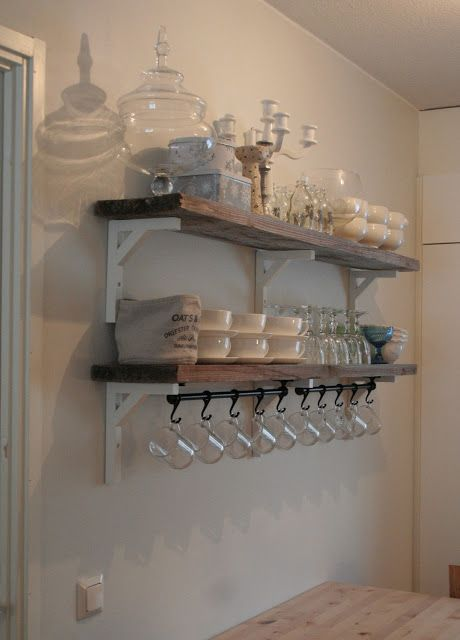 Rustic plank shelves, IKEA shelf brackets, rail with hooks for hanging