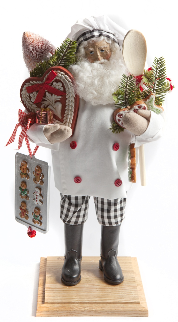 Santa face ornaments - Lynn Haney Santa Getting Ready To Cook For The Christmas Holidays