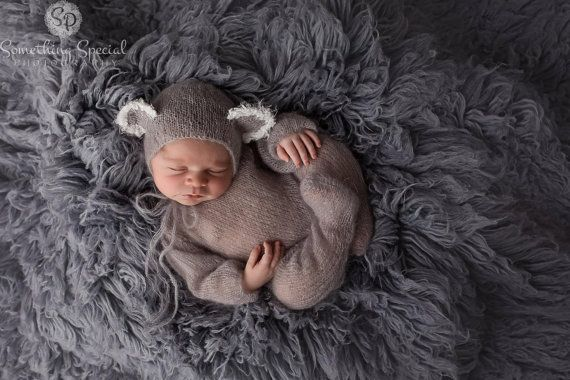 Baby Koala Bear Onesie and Bonnet Set by TaiterTotProps on Etsy