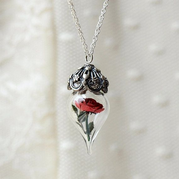 Beauty and the Beast Rose Necklace – Red Rose Silver Necklace – Glass Flower Terrarium Necklace. Gift for Wife, Girlfriend by Woodland Belle