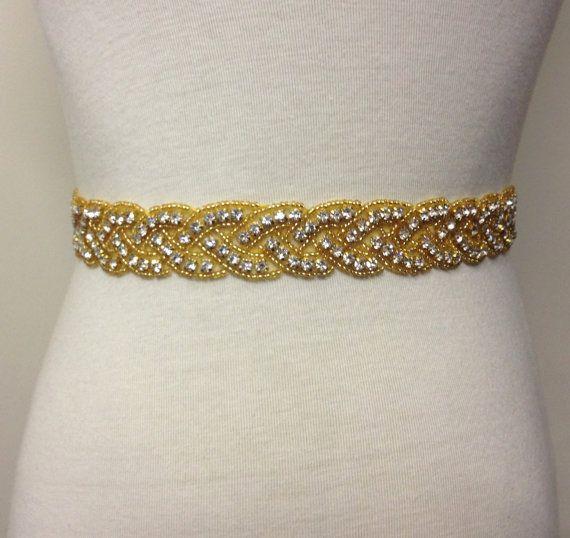 Gold Sash-Gold Rhinestone Sash-Gold Wedding by RoseybloomBoutique