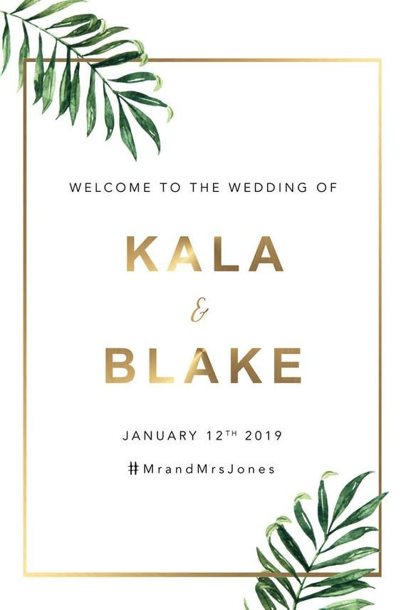 Tropical Leaf And Gold Wedding Welcome Sign Welcome To For Wedding Sign Welcome Sign Wedding Sign 006 Diy Prints Welcome Sign Wedding Welcome Signs 60pcs tropical party decorations supplies tropical palm leaves hibiscus flowers simulation product description. pinterest