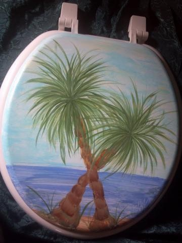 Hand Painted TROPICAL TOILET SEAT~Aruba, Key west, Palm tree,Bahama,buffet by PaintingDiva1 for $60.00
