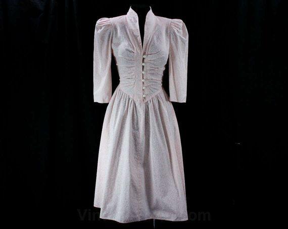 années 1940 robe - taille 9 à 10 - bébé coton rose vignes Print - inspirée des années 80 t-40 s - plis - Full Jupe - All That Jazz - buste 35,5-42304