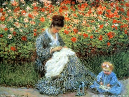 Camille Monet and a Child in the Artist's Garden in Argenteuil - Claude Monet (This is a heartwarming painting in reality.)