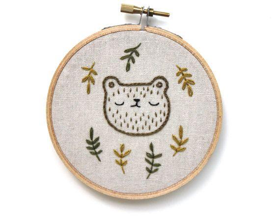 Sleepy Fall Bear – Hand embroidered wall hanging