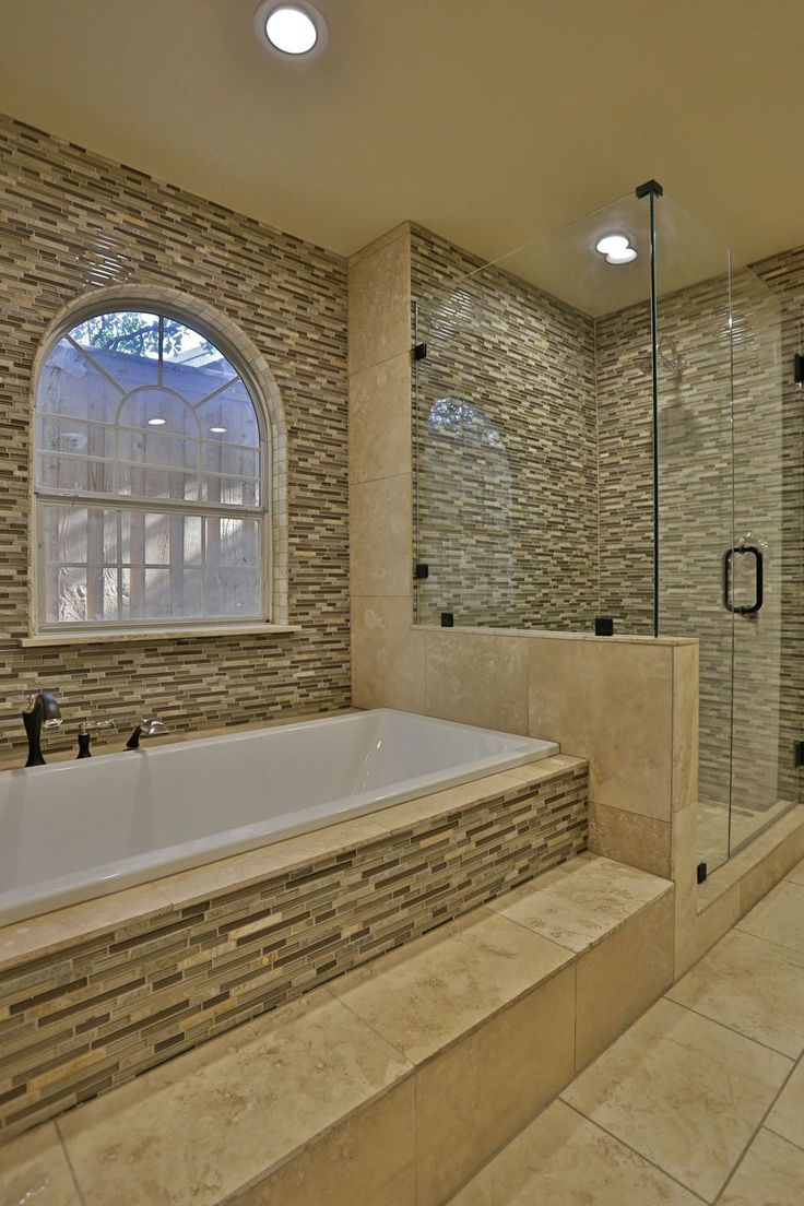 Walk in shower we did glass mosaics from lowes and