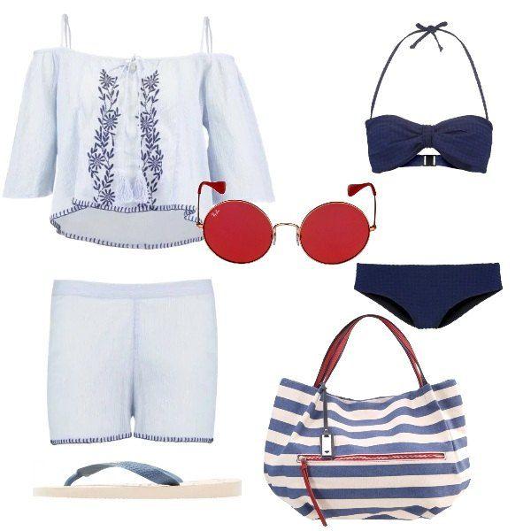 Il bikini blu viene indossato sotto ad un completo da mare composto da una casacca con ricamo e un paio di pantaloncini. Completano la la proposta un paio di ciabatte infradito, una borsa a righe e un paio di occhiali da sole con lenti tonde e rosse.