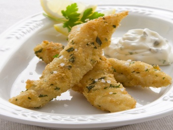 Herbed fish goujons