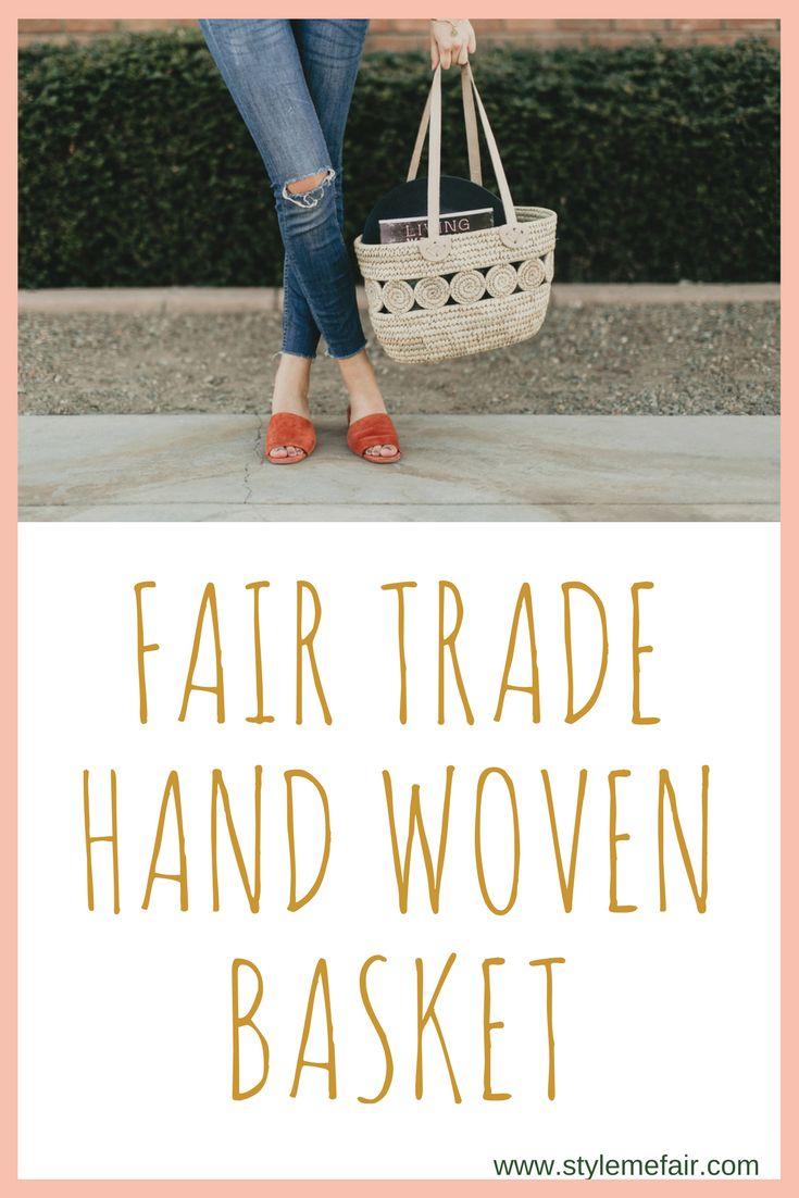 Hand woven fair trade basket from Ten Thousand Villages.