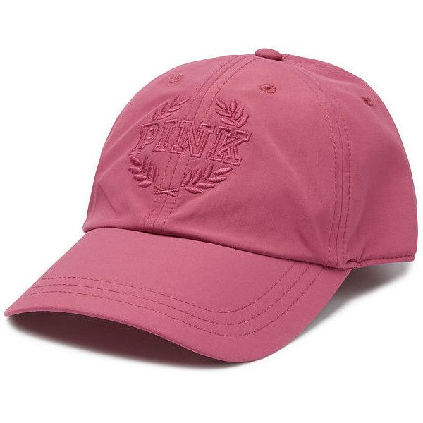 PINK Baseball Hat ($25) ❤ liked on Polyvore featuring accessories, hats, brown, sport hats, brown ball cap, brown baseball cap, pink hat and adjustable baseball hats