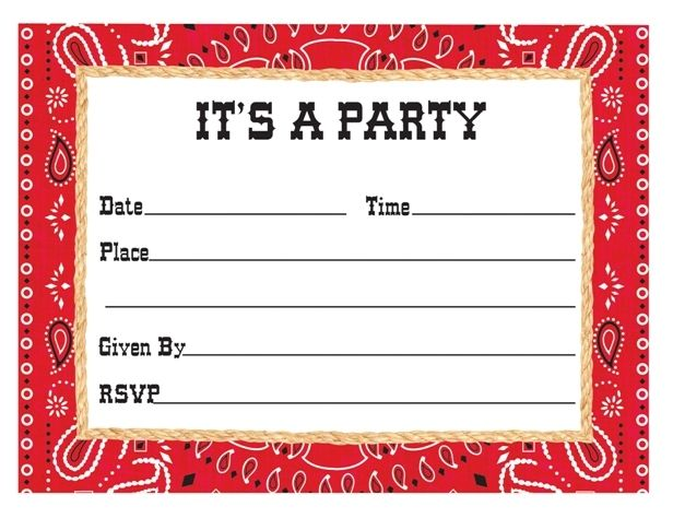 Western Cowboy Country Bandana Party Invitations Invites & Envelopes - 8 Pack