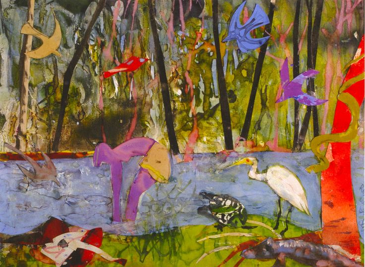 Caribbean Watercolor Prints | Romare Bearden, Purple Eden (1987) watercolor and collage