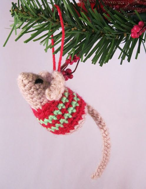 Make a little mouse decoration with a stripy Christmas sweater.