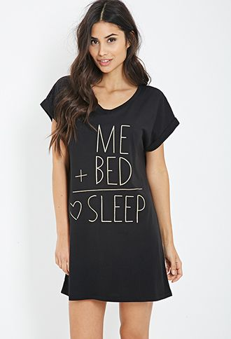 Sleep Equation Nightdress | FOREVER21 - 2000099536 Black/gold $10.90 M