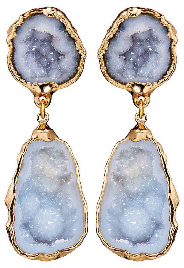 One Kings Lane - Coast to Coast - Blue/Gray Geode Drop Earrings