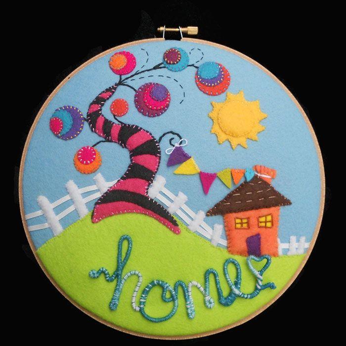 Hand stitched felt hoop art
